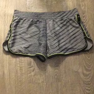Grey black and green under armor work out shorts